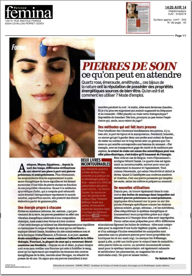 Article de version femina du 14/20 Avril 2014