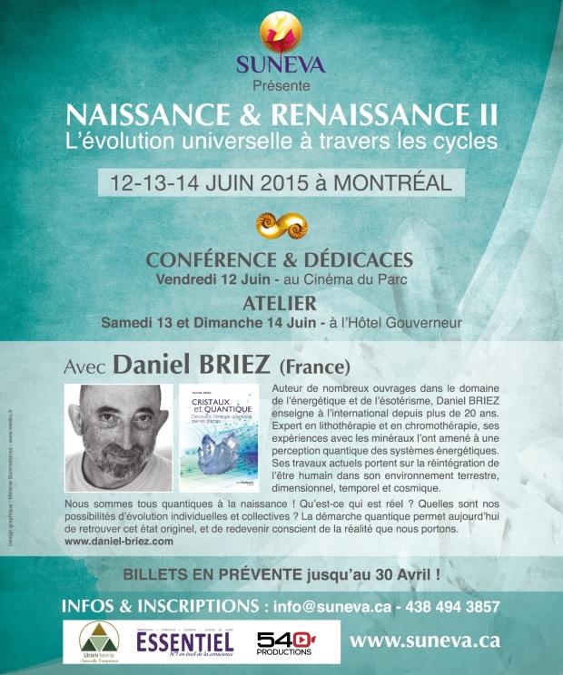 Affiche Conférence et Atelier Naissance et Renaissance II à Montréal