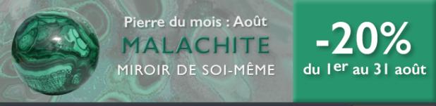 Retrouvez la pierre du mois d'août 2016 : la Malachite sur www.cristaux-sante.com