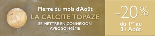 Retrouvez la pierre du mois d'Août 2017 : la Calcite Topaze sur www.cristaux-sante.com