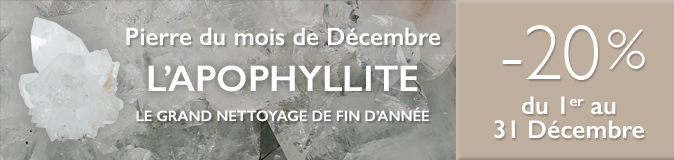 Retrouvez la pierre du mois de Décembre 2017 : l'Apophyllite sur https://www.cristaux-bien-etre.com