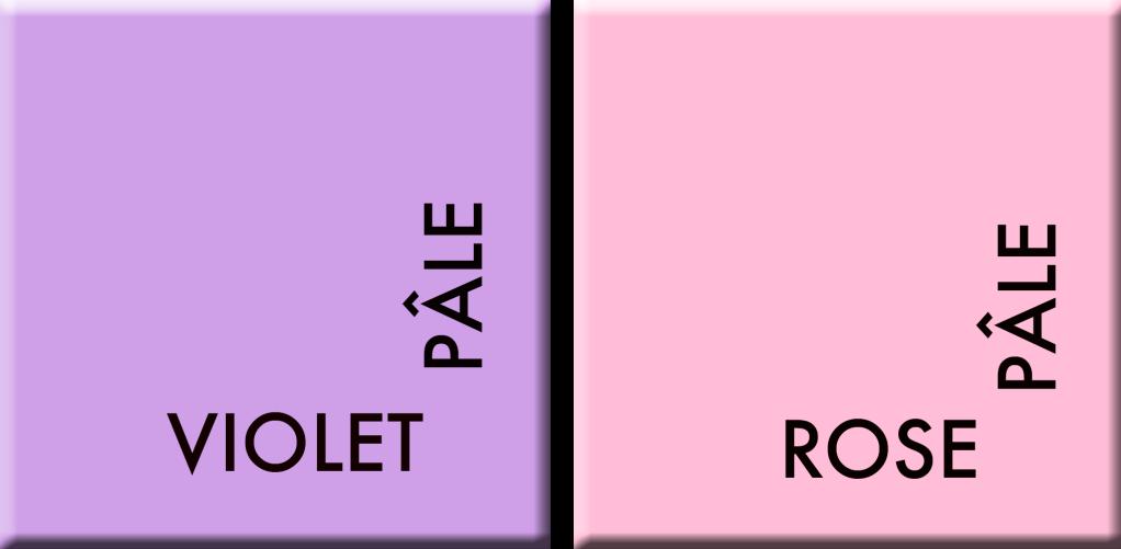 violet pâle/rose pâle, couleurs du jour du 12 au 16 juin
