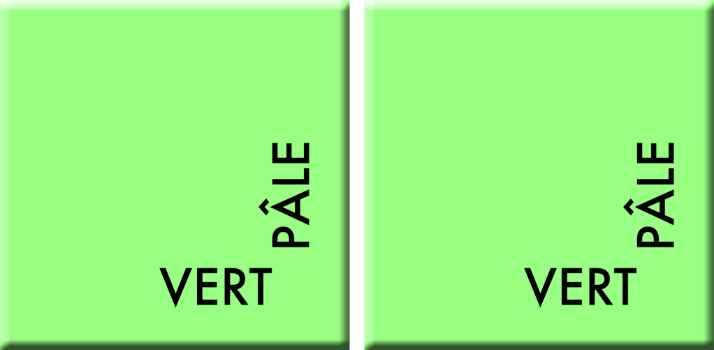 VERT PÂLE/VERT PÂLE, couleurs du jour du 16 au 21 juin