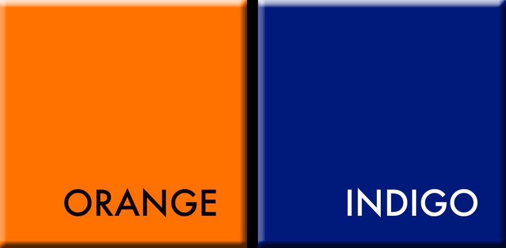 ORANGE-INDIGO,COULEURS DU JOUR DU 29 SEPTEMBRE AU 3 OCTOBRE