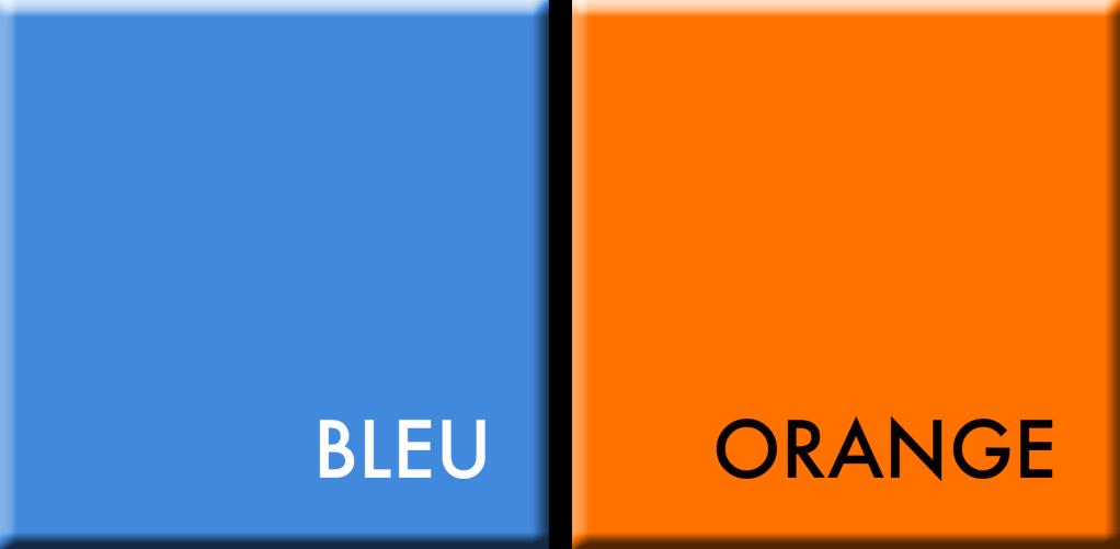 BLEU/ORANGE, COULEURS DU JOUR DU 19 AU 23 OCTOBRE à midi